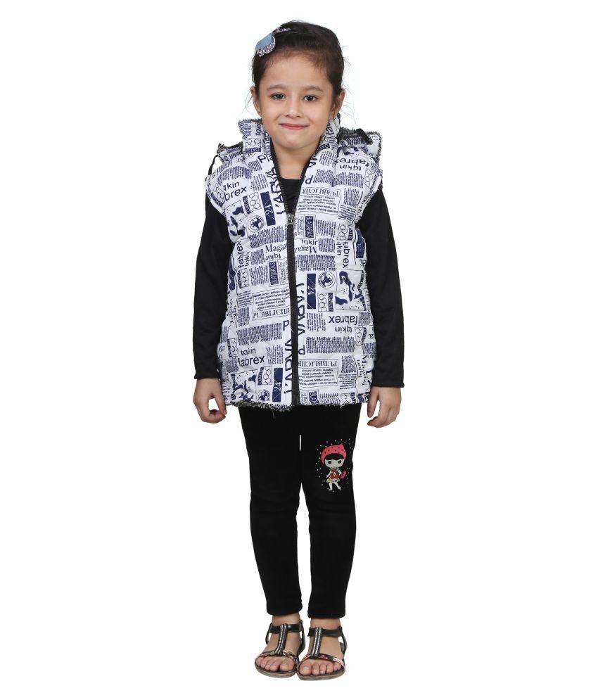 Crazeis White Woven Half Sleeve Jacket For Girls