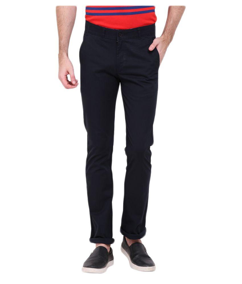 Duke Navy Blue Regular Flat Trouser