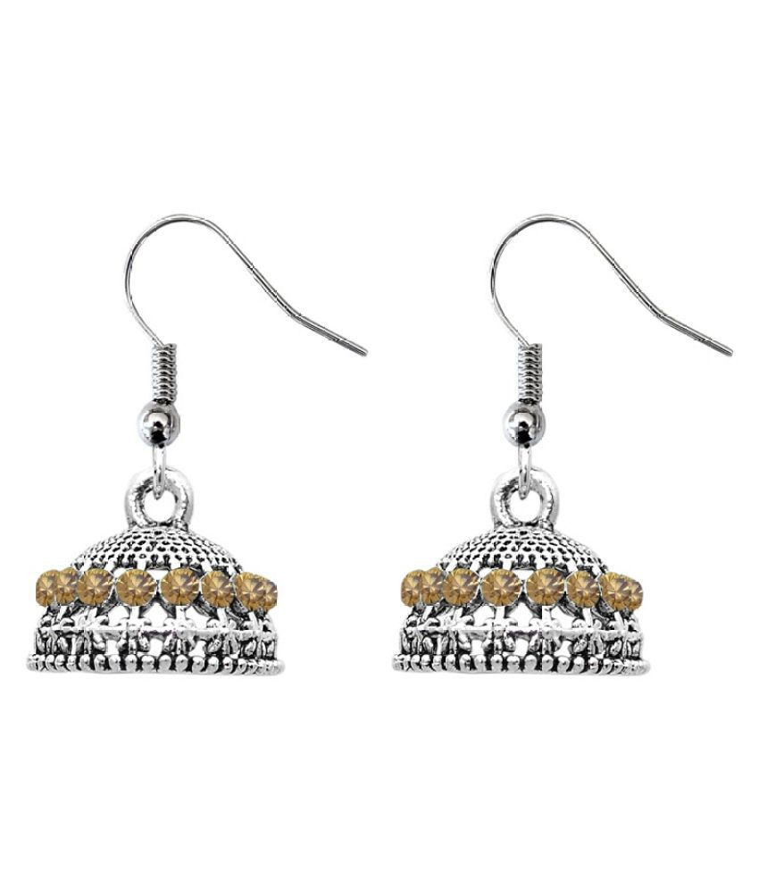 9blings Classy Cubic Zirconia Silver Plated Jhumki Earring