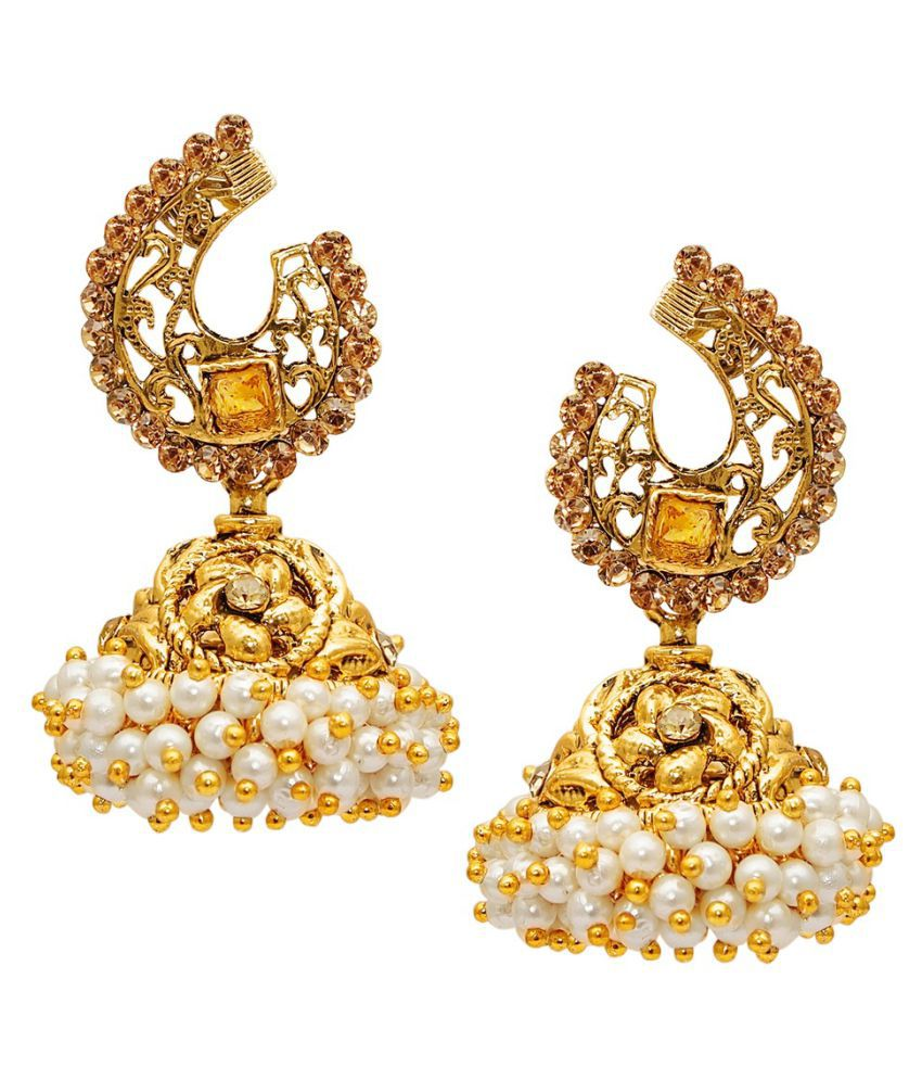 9blings New Latest Style Fligree Work Cubic Zirconia Gold Plated Earring