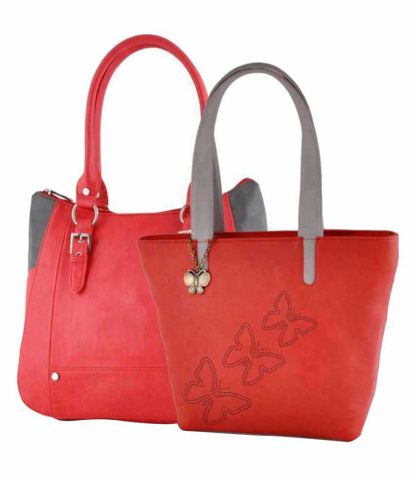 Butterflies Red P.U. Shoulder Bag