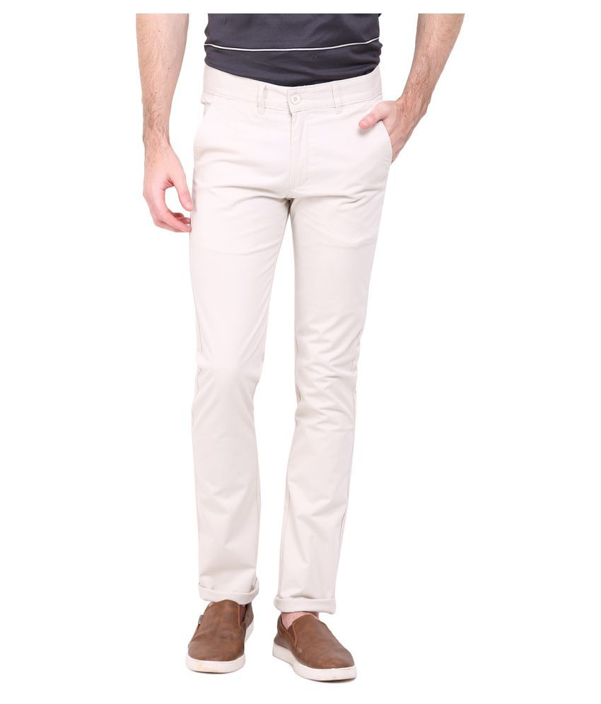 Duke White Regular Flat Trouser
