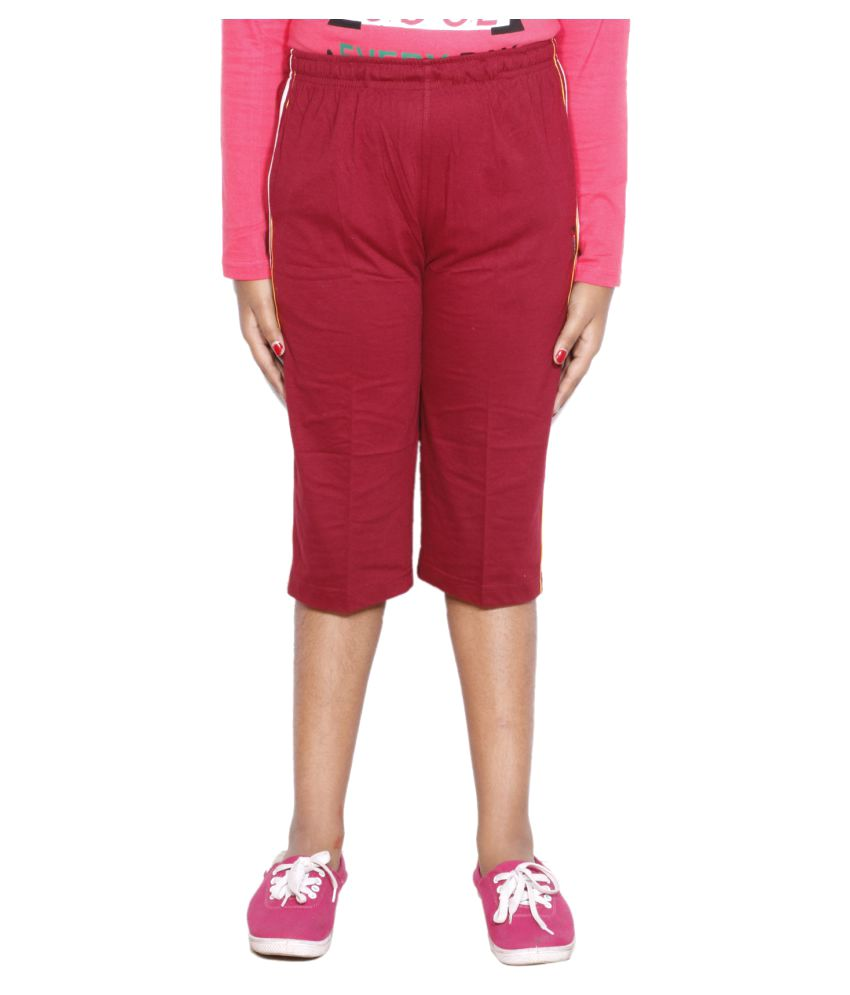 IndiWeaves Red Girls Regular Fit Casual Capri