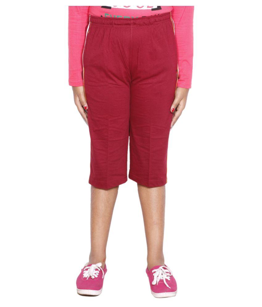 IndiWeaves Red Girls Regular Fit Casual Capri