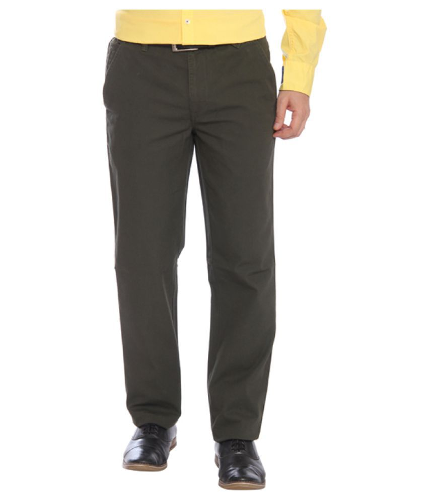 Park Avenue Green Regular Flat Trouser