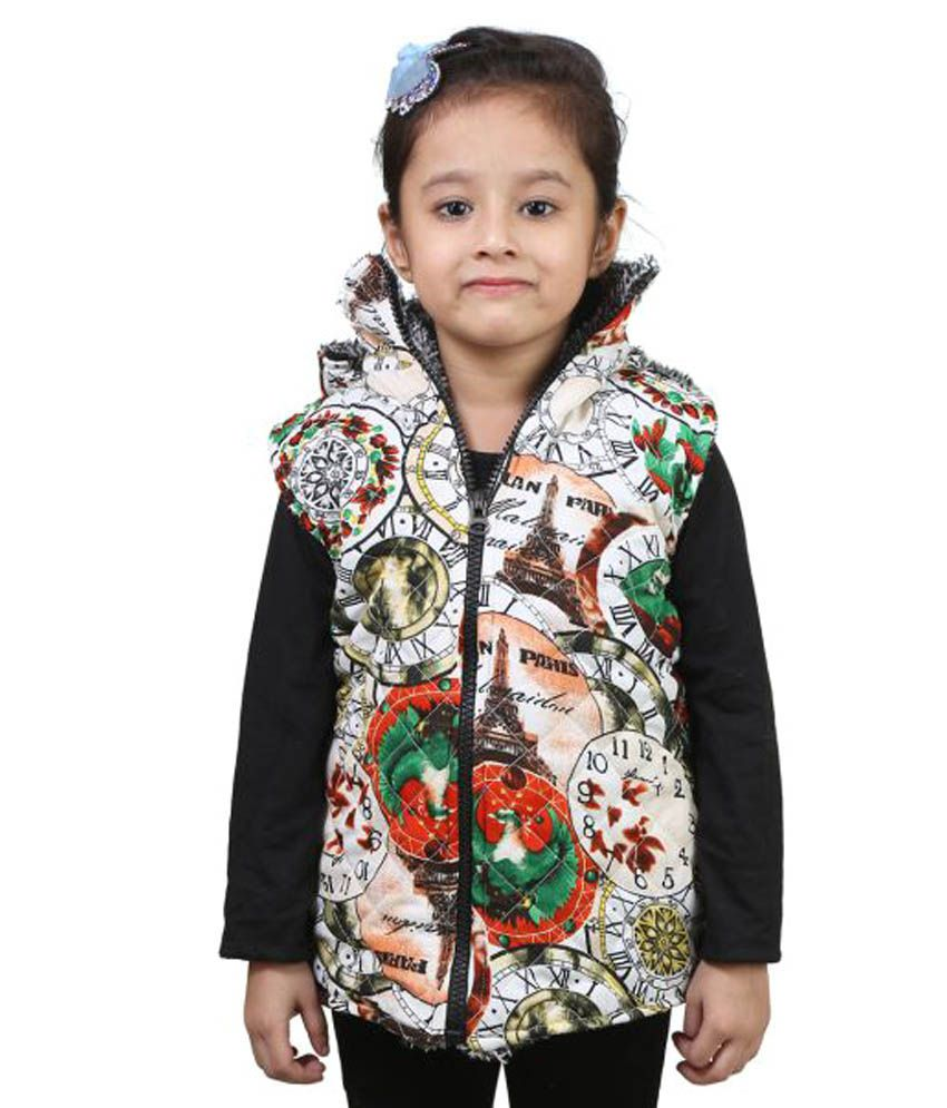 Crazeis Multicolor Nylon Light Weight Jacket Half Sleeve Jacket For Girls