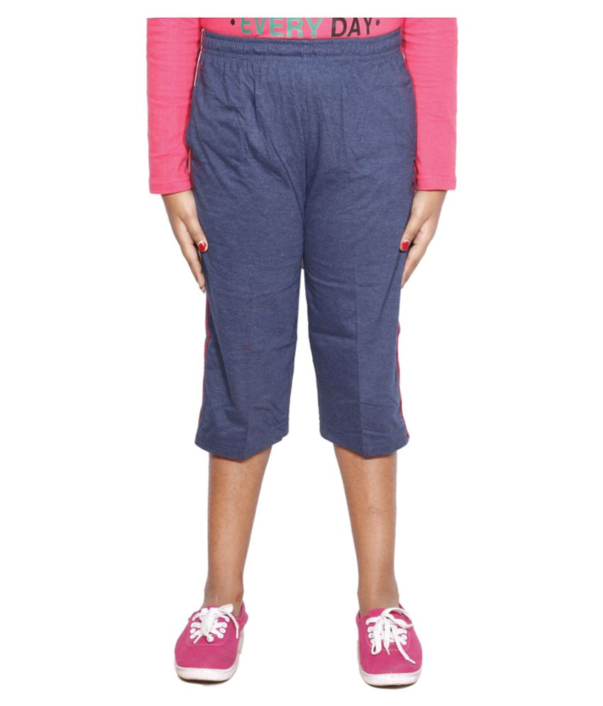 IndiWeaves Blue Cotton Bermudas Size- (10-11 Years)