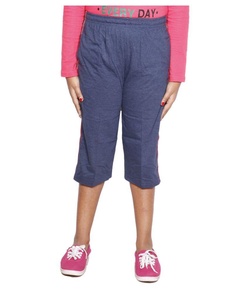 IndiWeaves Blue Girls Regular Fit Casual Capri
