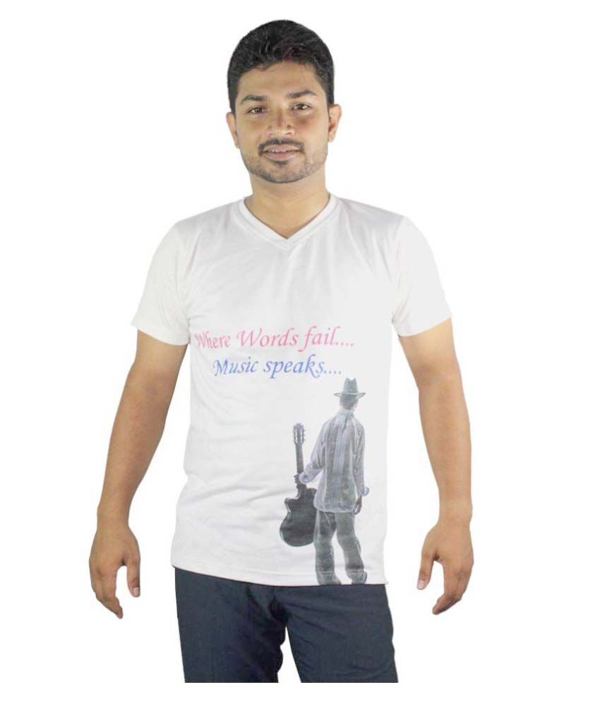 Krishnendu Shrimani White V-Neck T-Shirt