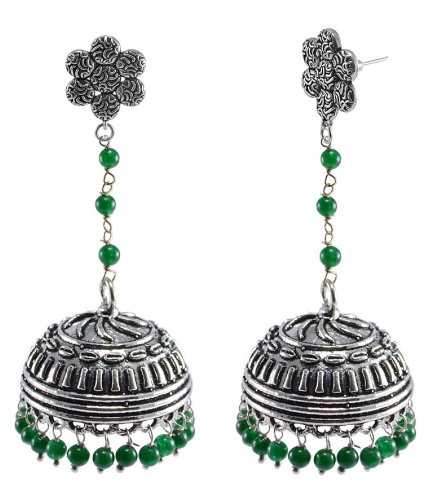 Silvesto India Alloy Silver Plated Jhumkis
