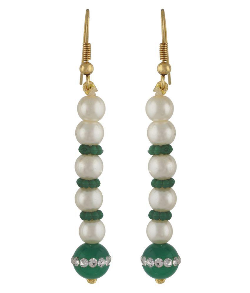 Vishakapearlsandjewellers Golden Linear Type Pearl Hanging Earrings