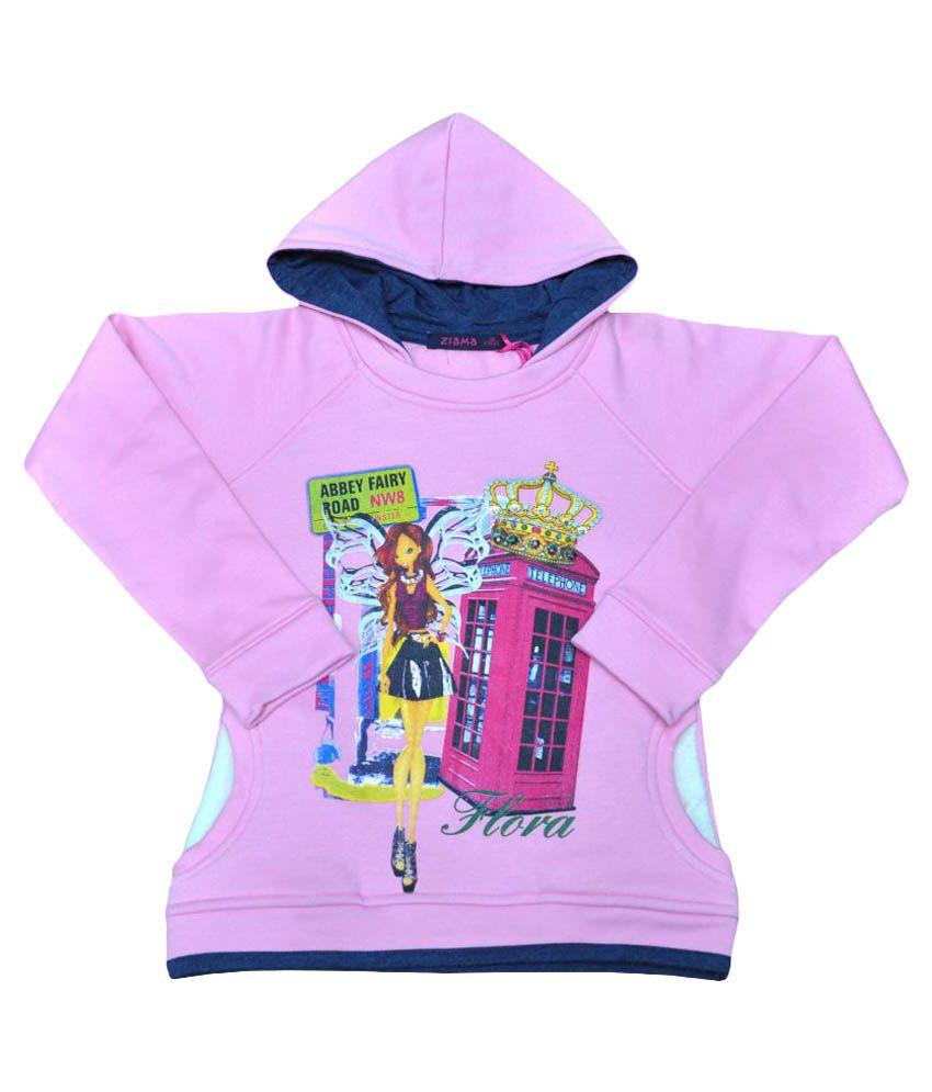 Ziama Pink Printed Sweatshirts for Girls