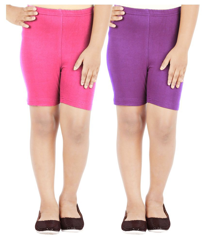 Lula Multicolor Cotton Cycling Shorts - Pack of 2