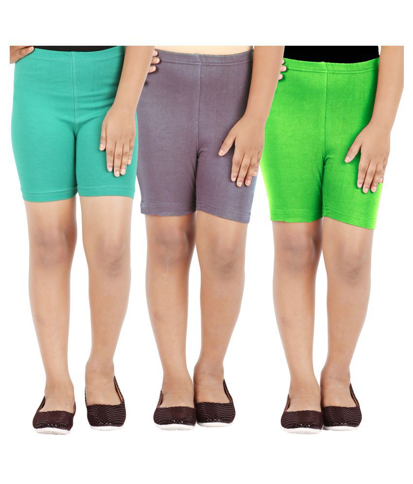 Lula Girl's Spandex Shorts - Pack Of 3