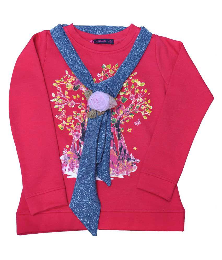 Ziama Red printed fleece sweatshirts for Girls