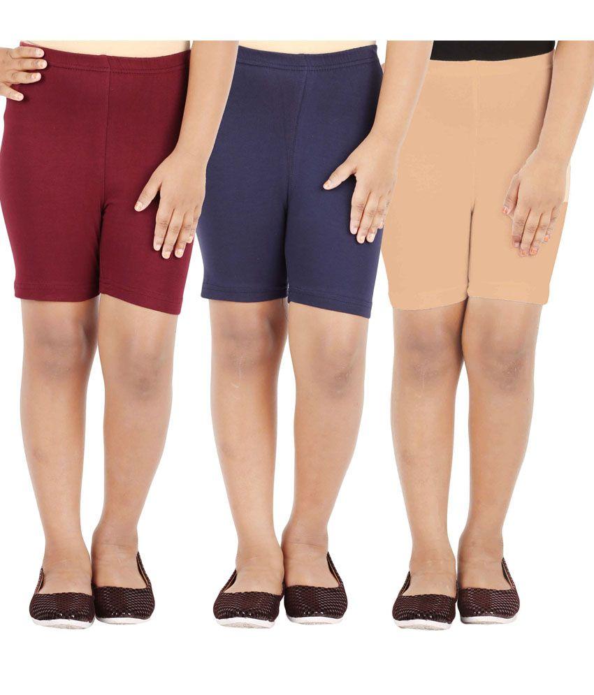 Lula Multicolour Cotton Spandex Shorts- Pack Of 3