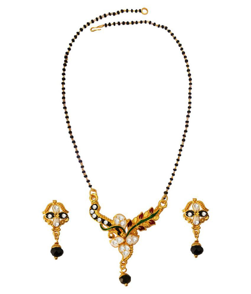 Pihu  Multicolor  Kareena Kapoor Inspired Floral With Peacock Meenakari Design  Mangalsutra Set