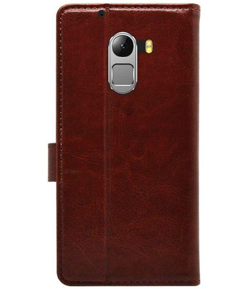 new concept ce032 73f9d Lenovo Vibe K4 Note Flip Cover by Bracevor - Brown