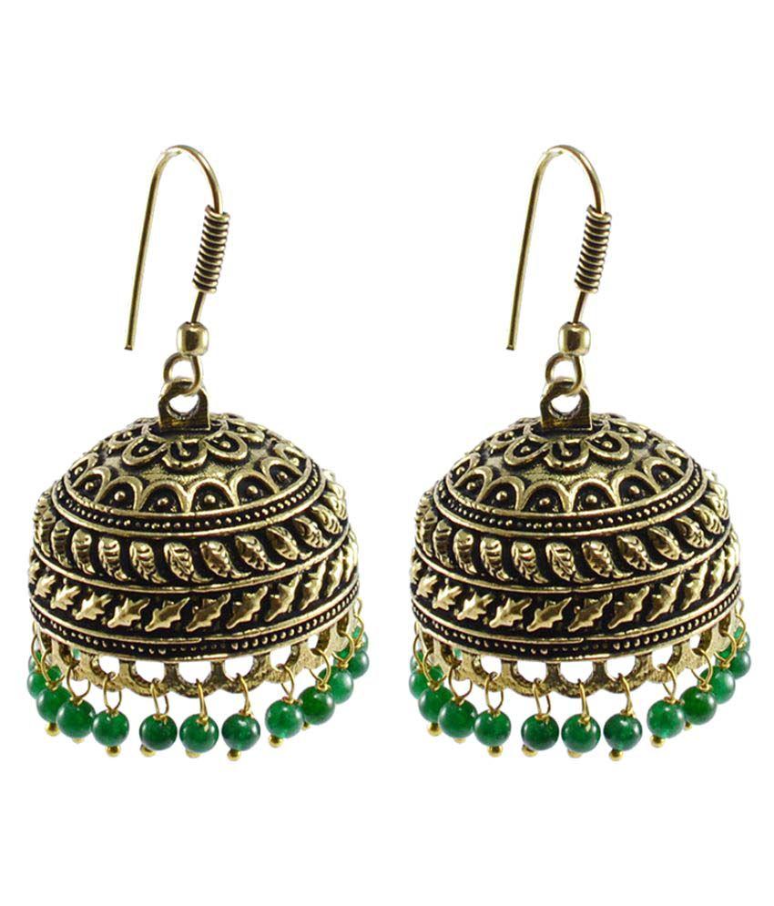 Silvesto India Jaipur Oxidized Multicolor Fashion Handmade Jhumki Earring