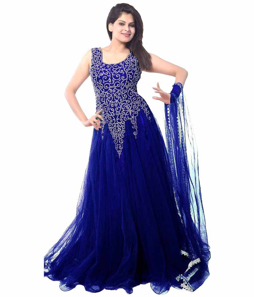 79c385bfc Vinayak Creation White and Blue Net Dress Material - Buy Vinayak ...