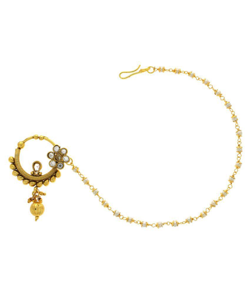 Anuradha Art Golden Colour Classy Designer Nath