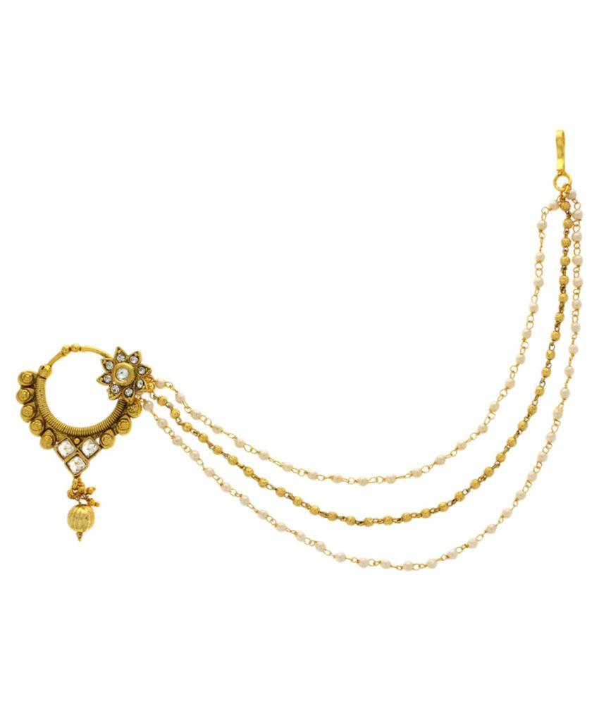 Anuradha Art Golden Colour Nose Ring