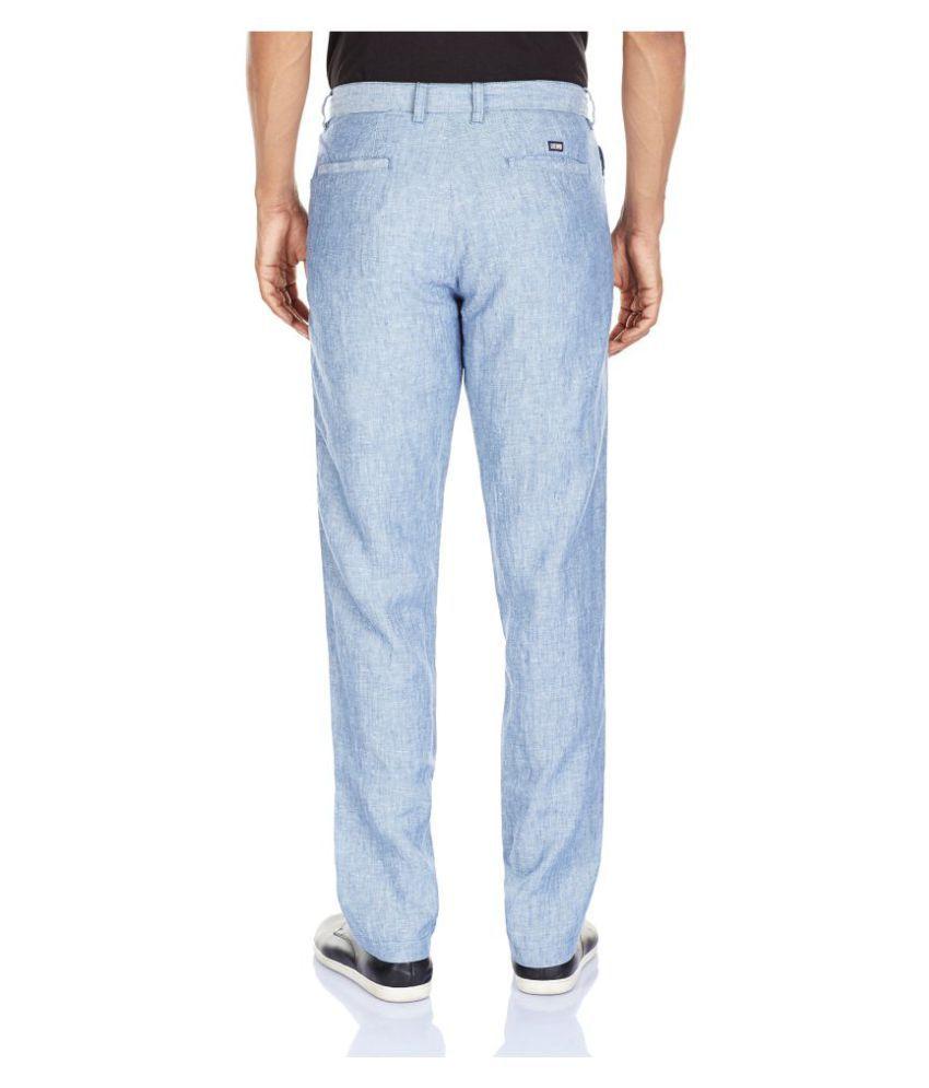 Arrow Light Blue Slim Flat Trousers