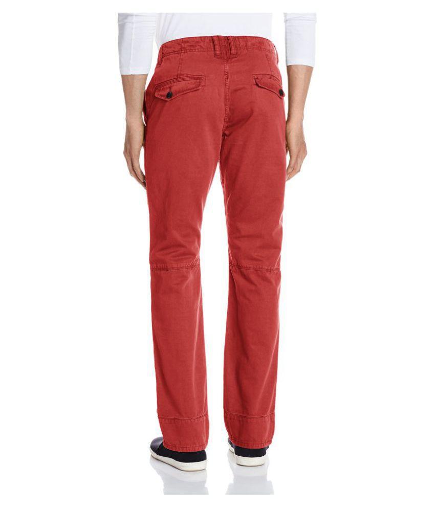 Breakbounce Red Slim Flat Chinos