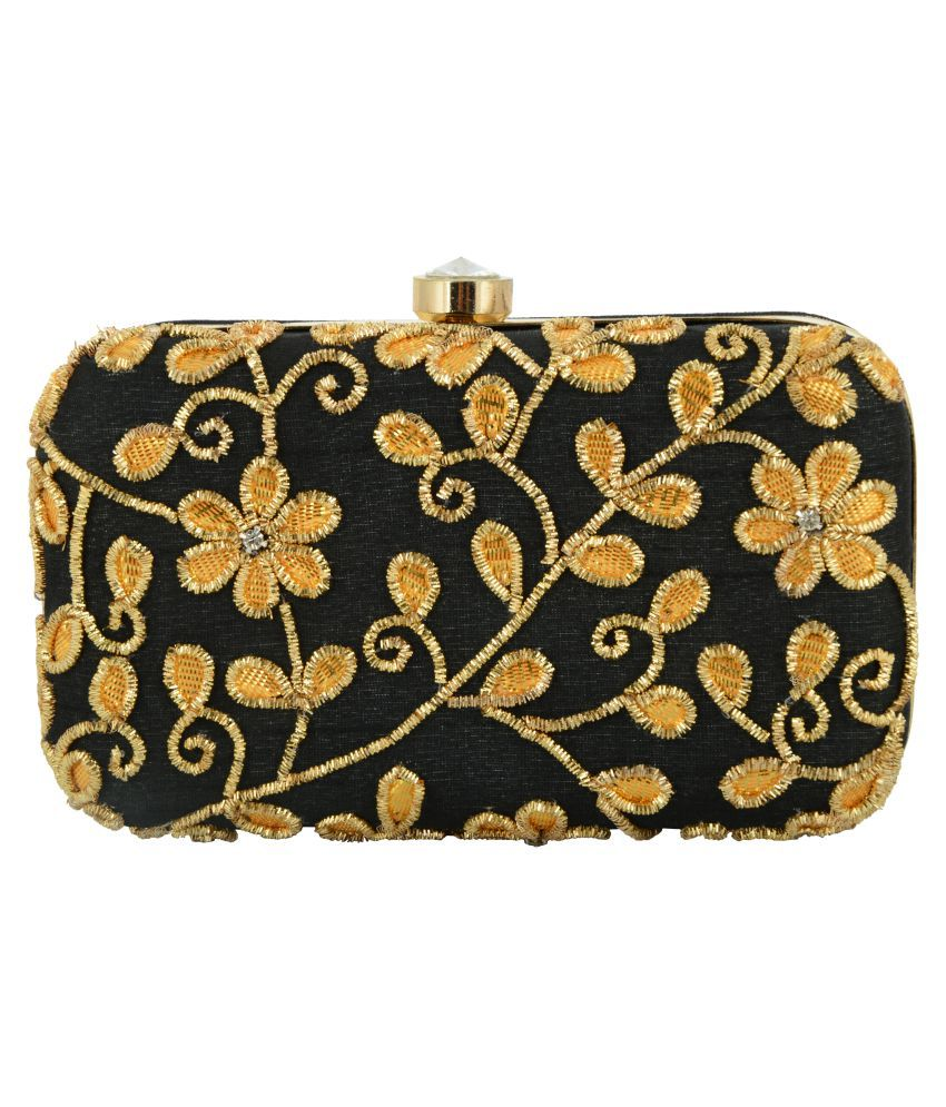 Tooba Handicraft Black Fabric Box Clutch