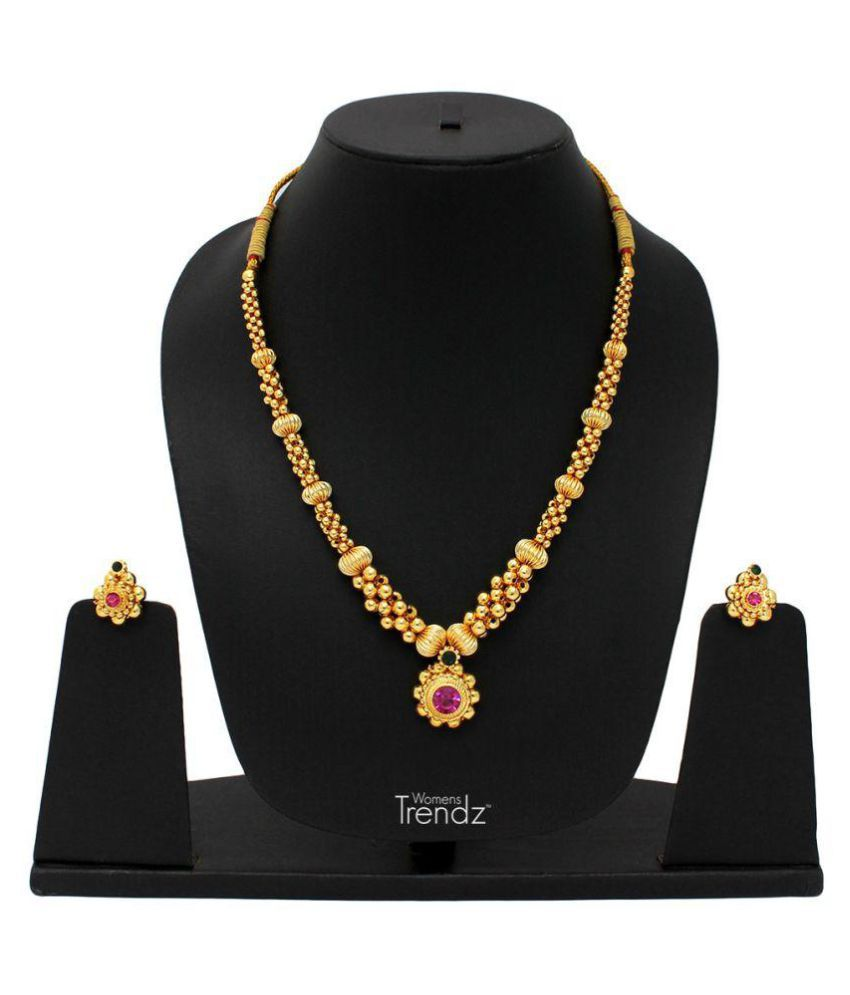 Womens Trendz Traditional, Ethnic and Antique 24K Gold Plated  Necklace and Earrings Set