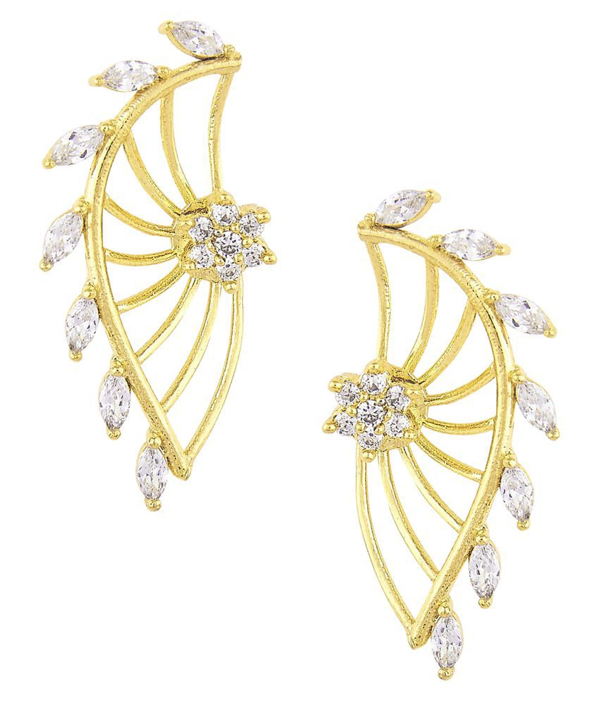 Efulgenz White Ear Cuffs Earrings