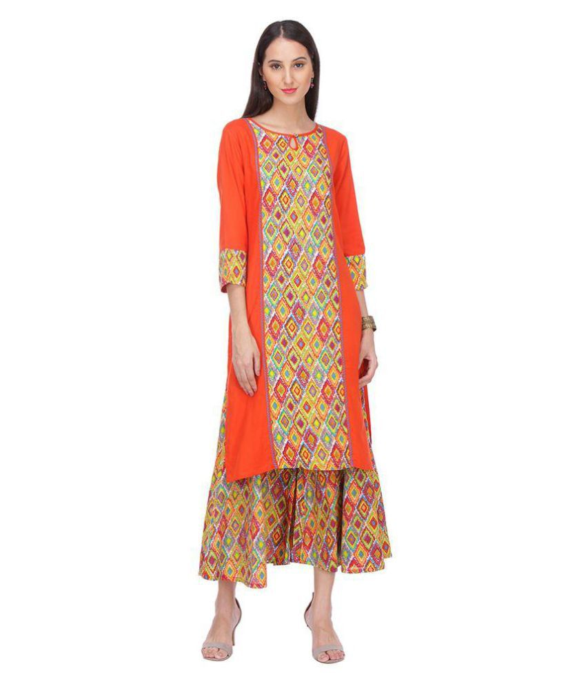 Chigy Whigy Multicoloured Rayon Straight Stitched Suit