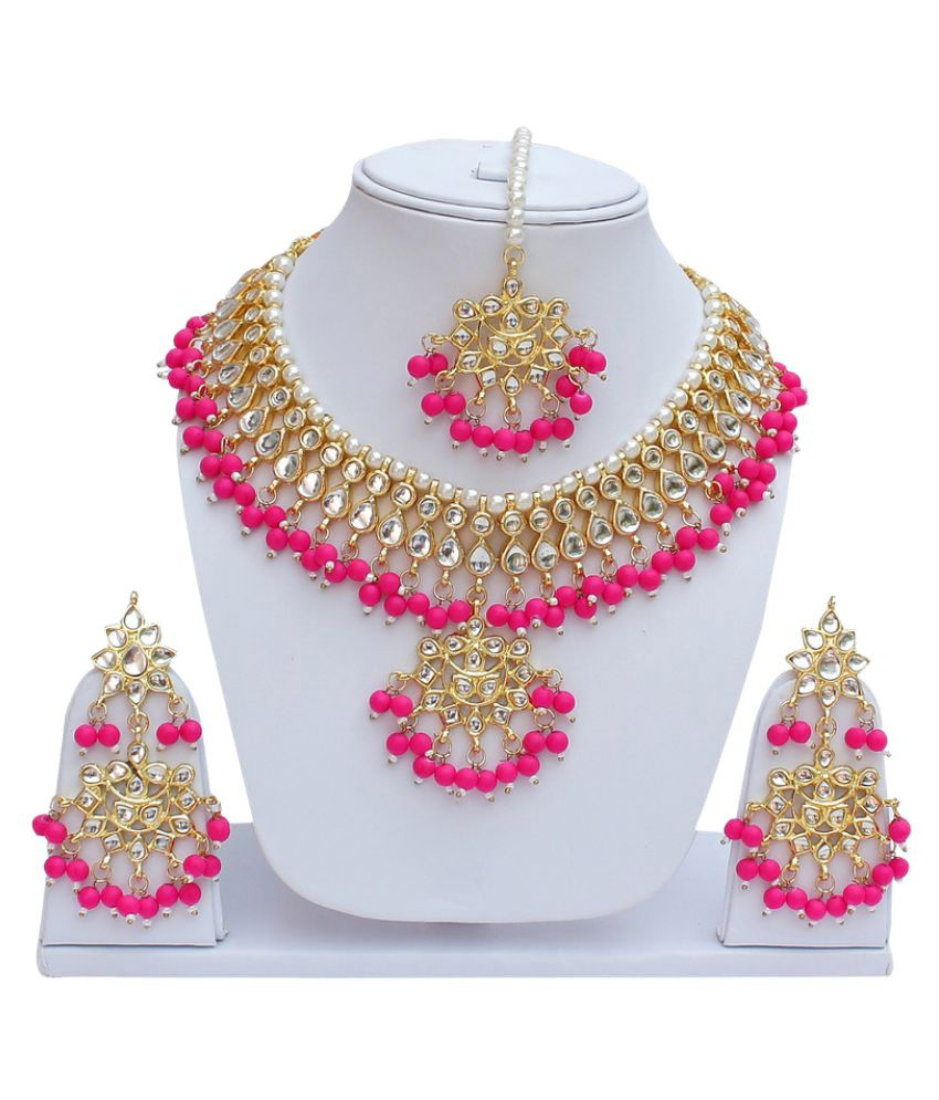 Lucky Jewellery Multicolor Necklace Set with Mang tikka