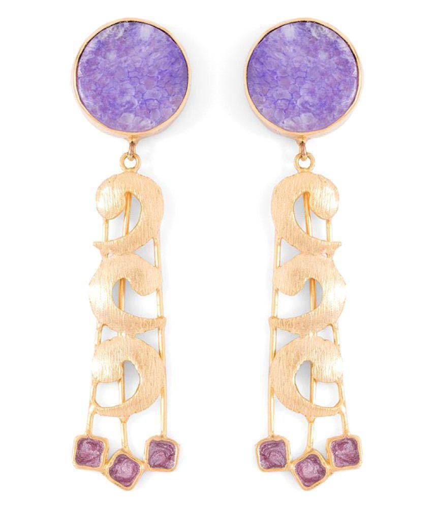 Voylla Purple Agate Stone Embellished Enameled Earrings