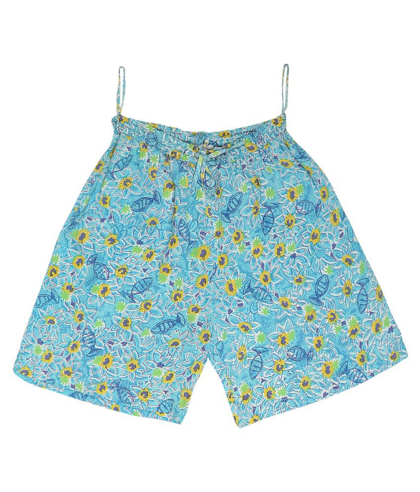 Eves Light Blue & Yellow Casual Shorts for Girls