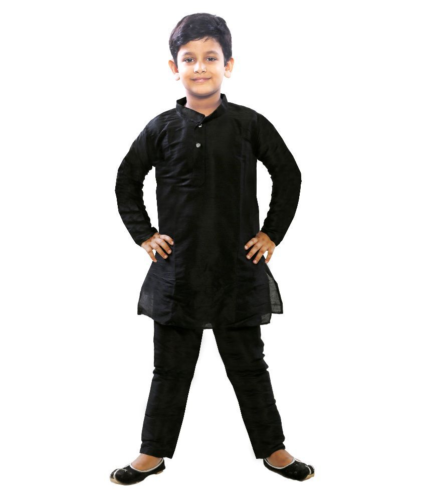 5311e2f5eb JBN Creation Black Cotton Silk Kurta Pyjama - Buy JBN Creation Black Cotton  Silk Kurta Pyjama Online at Low Price - Snapdeal