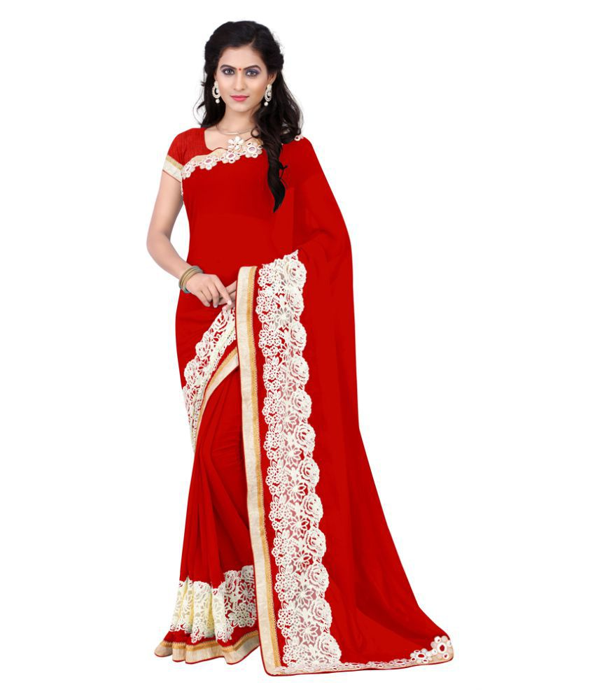 Jiya Red Georgette Saree