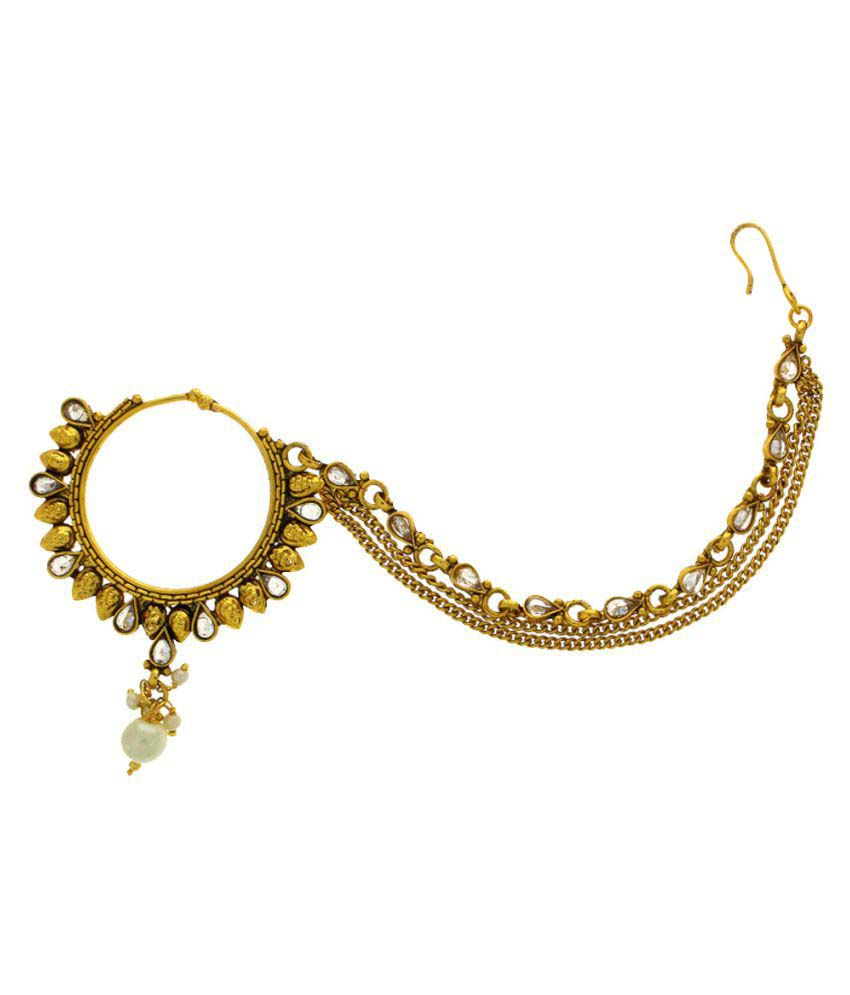 Anuradha Art Golden Dulhan Nose Ring For Women