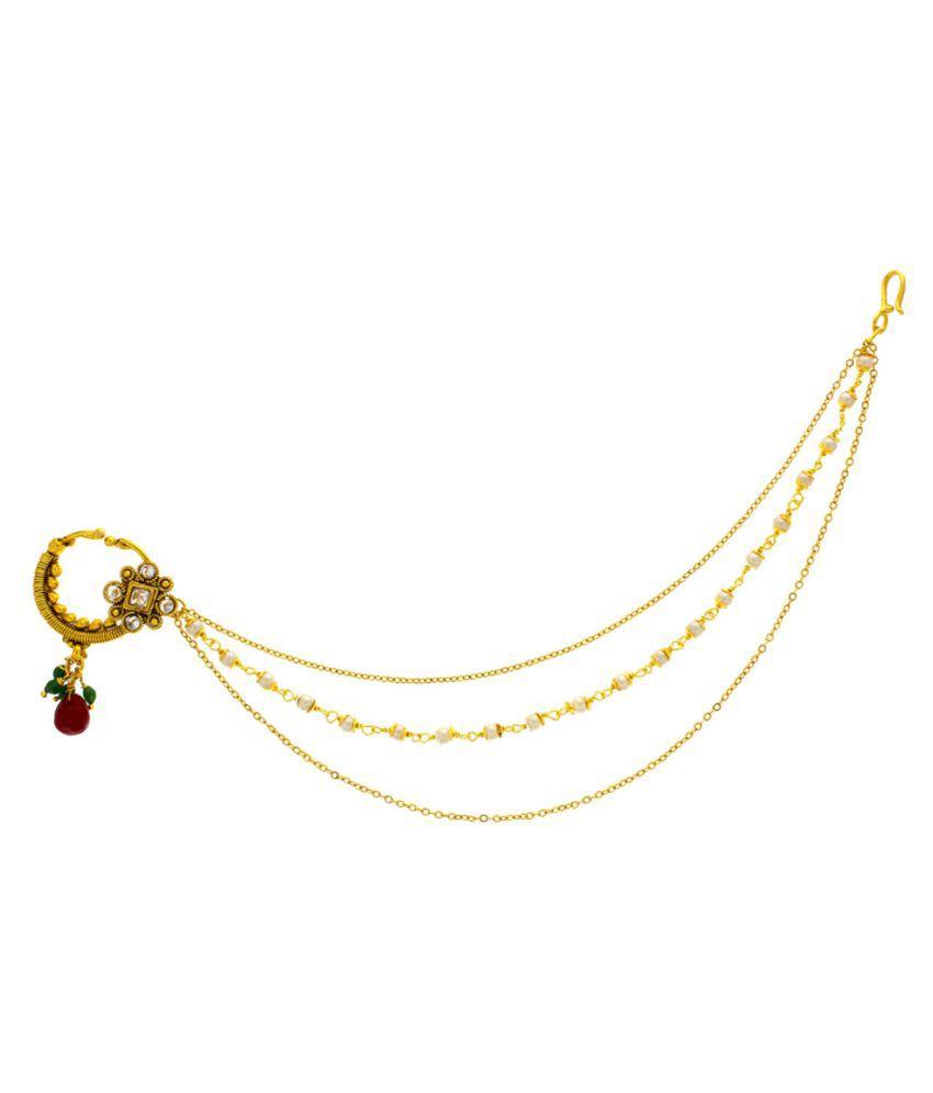 Anuradha Art Golden Nose Ring