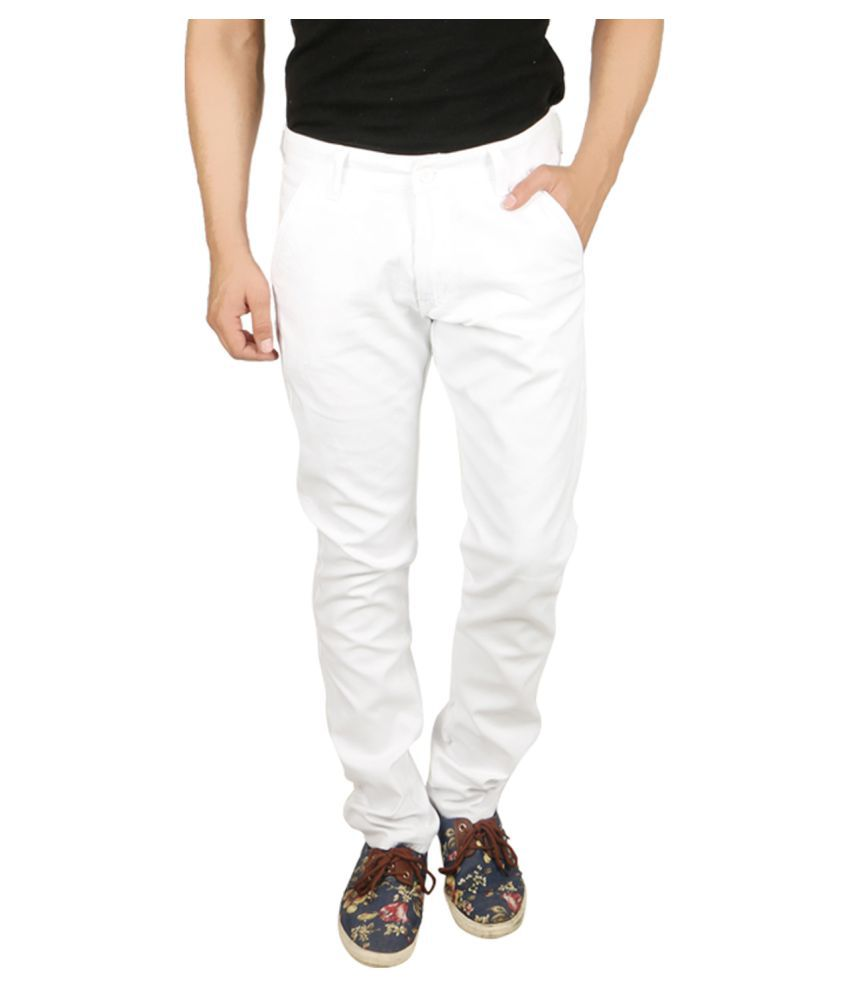 Nimegh White Slim Flat Chinos
