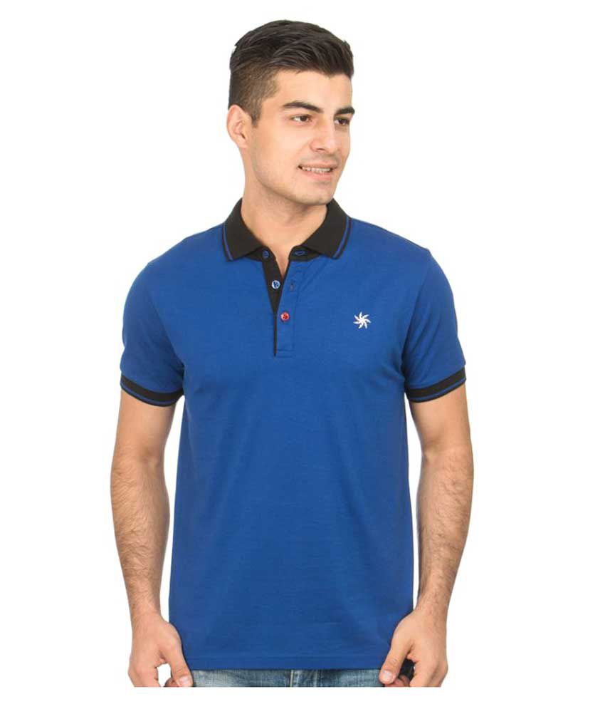 Zeven Blue Cotton Polo T-Shirt Single Pack
