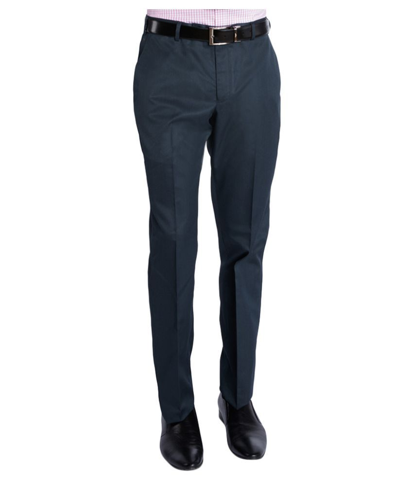 Park Avenue Dark Blue Regular Flat Trousers