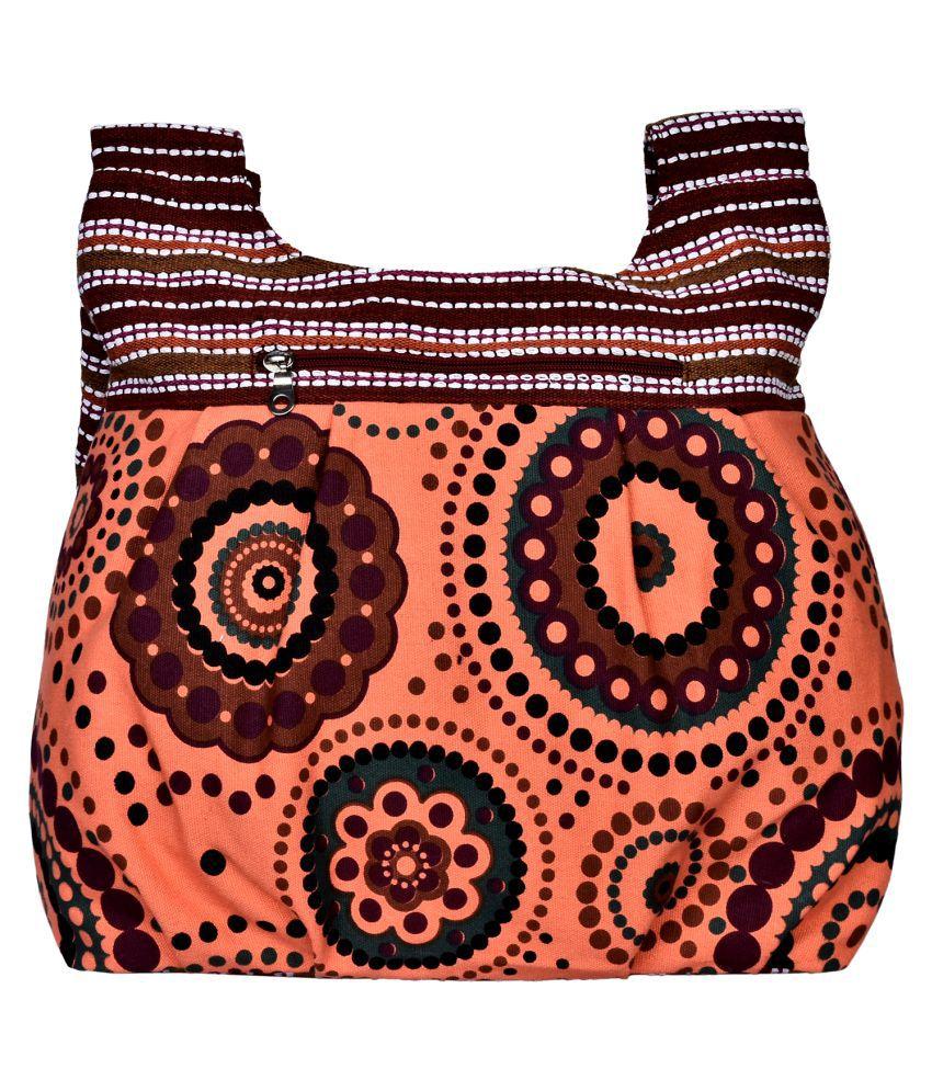 Anekaant Orange Canvas Hobo Bag