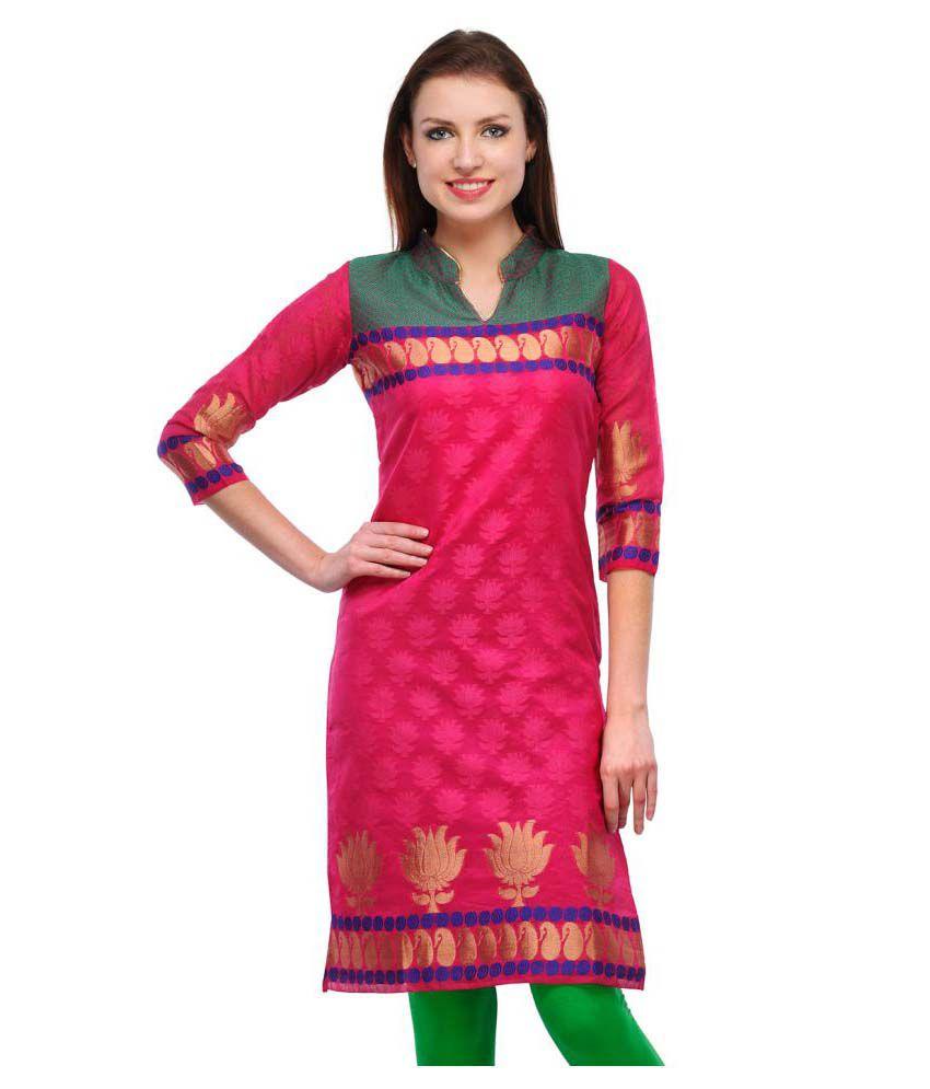 Charmi Lifestyle Pink Jacquard Straight Kurti