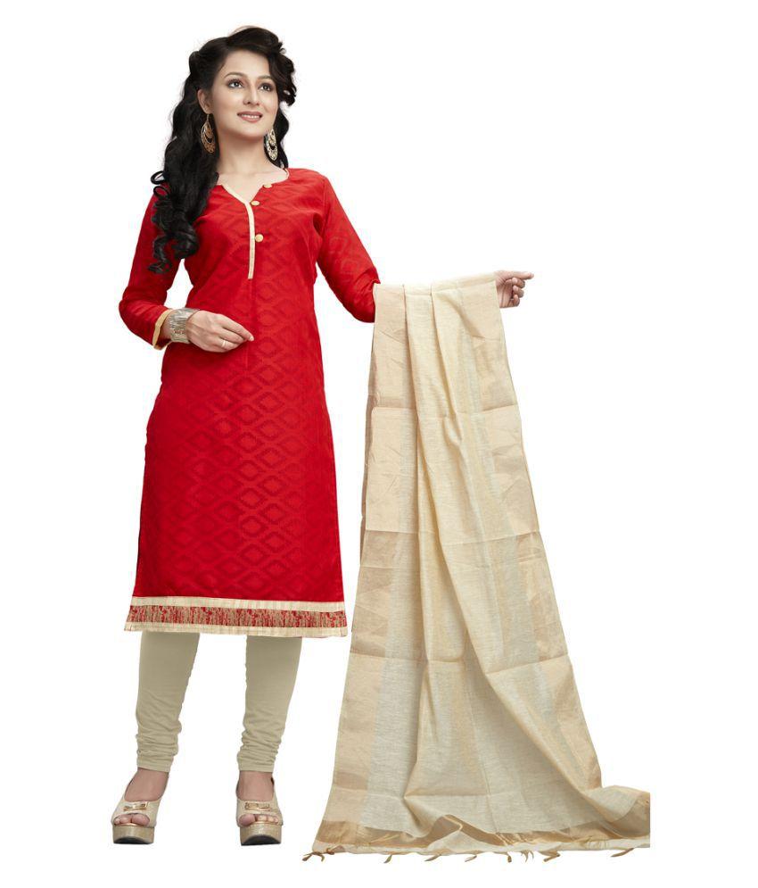 Fashion Ritmo Red Cotton Dress Material