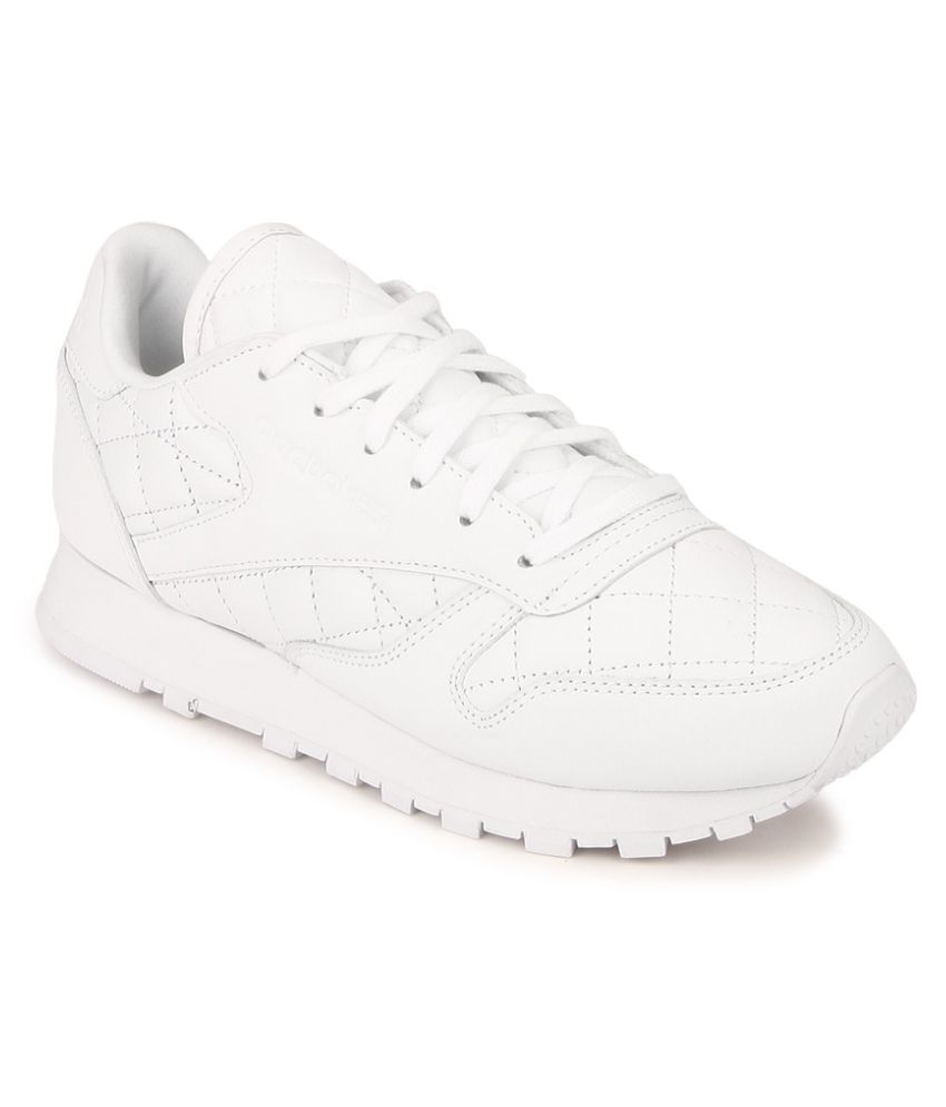 93253256e74 Reebok CL LTHR QUILTED White Running Shoes Price in India- Buy Reebok CL  LTHR QUILTED White Running Shoes Online at Snapdeal