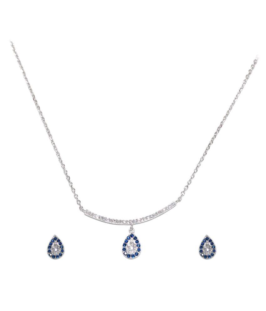 Nazar Store 92.5 Silver Necklace Set