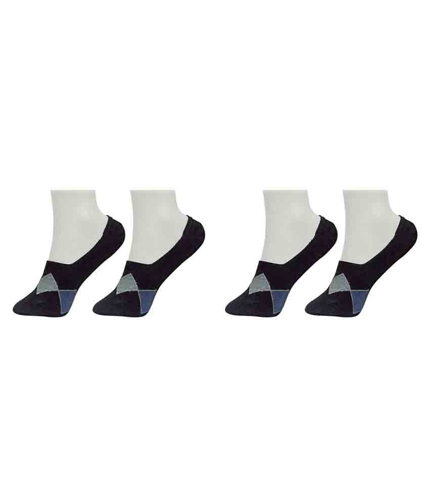 Gold Dust Black Footies Socks - 2 Pair