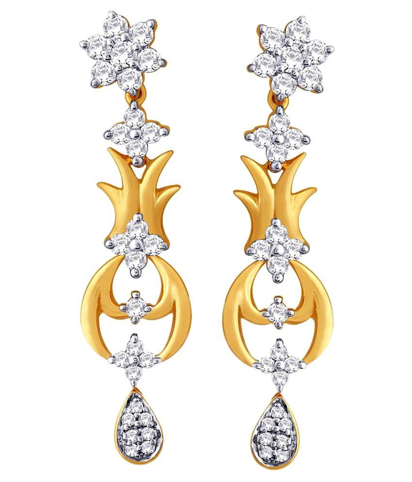 Nakshatra 18k BIS Hallmarked Yellow Gold Diamond Drop Earrings