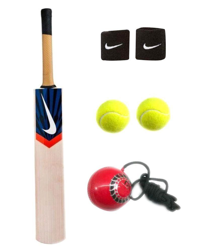 Nike Combo Of Kashmir Willow Cricket Bat 2 Tennis Balls 2 Wrist